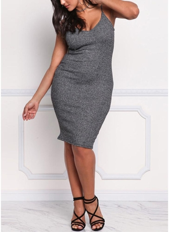 Sexy Women Large Size Knitted Slip Dress V Neck Sleeveless Solid Slim Bodycon Plus Size Knitting Dress