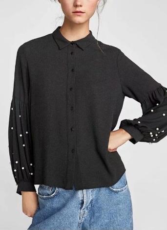 2508efb57735 Las mujeres de la manera sueltan los granos de la camisa de la camisa de la  manga de la linterna abrochan el casquillo sólido ocasional Tops