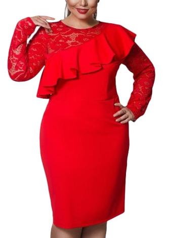 Mulheres Vestido Grande Vestido Lace O-Neck Lápis Vestido de Festa Ladies Ruffle Bodycon Slim Midi Club Vestidos