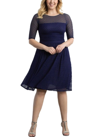 Women Plus Size Dress Dot Semi-sheer Mesh Splice Ruffle Elegant A-Line Party Swing Dress