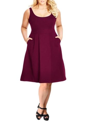 Vestido de tanque tamanho feminino vestido de balanço sólido Vestido casual A-Line