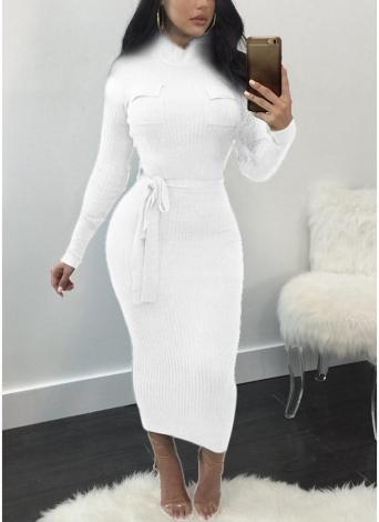 Mulheres Outono Inverno Sweater Vestido de malha Cintura cintura Slim Elastic Turtleneck Long Sleeve Bodycon Dress