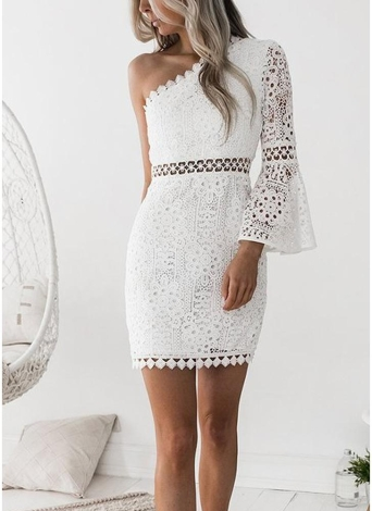 Sexy Women Lace Dress One Shoulder Flare Sleeve Aqueio Clubwear Party Dress