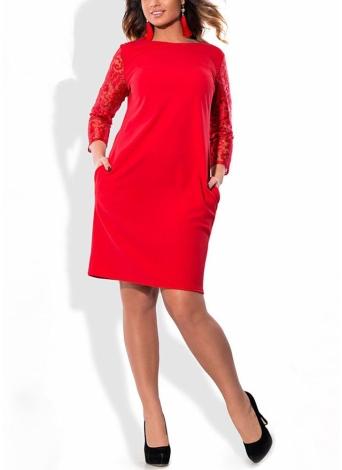 Женщины Плюс Размер Платье Цветочные Кружева Три Квадрата Втулки Карманы Мини Большого размера Элегантный Офис Партии
