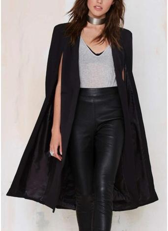 Automne Femmes Manteau Long Blazer Manteau Cape Cardigan Veste Slim Bureau OL Costume Casual Solid Vêtements d'extérieur