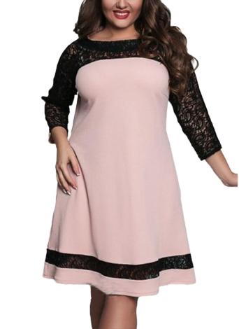 Vestido de tamanho grande feminino Semi-sheer Lace Mesh Splice Contraste Color Elegant A-Line Party Swing Dress Dark Blue / Pink / Rose