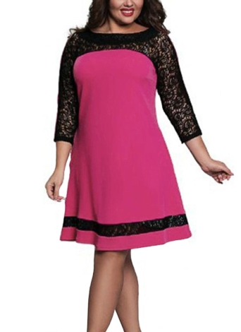 60af5235b6a46 Women Plus Size Dress Semi-sheer Lace Mesh Splice Contrast Color Elegant  A-Line