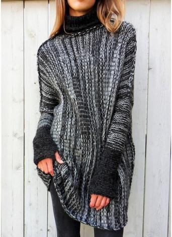 Frauen übergroße Rib Knit Sweater Umlegekragen Langarm Pullover Strickwaren