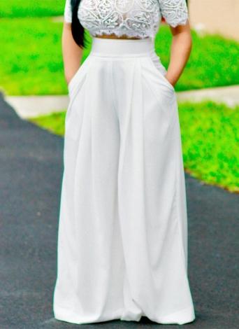 Pantalones de mujer de color sólido de cintura alta anchas Piernas sueltas