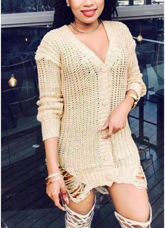 Sexy Women Deep V-Neck Distressed Buttons Solid Mini Knitting Dress