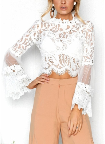 Sexy Women Floral Lace Flared Sleeve Transparent Mesh Blusa de manga comprida