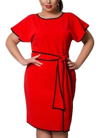 Vestido de ajuste de contraste de la manga de la mariposa de las mujeres más tamaño de la moda
