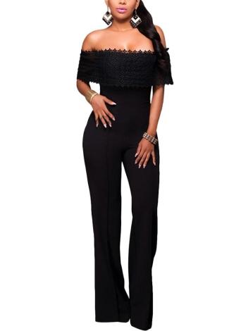 Sexy Frauen Jumpsuit aus der Schulter Crochet Lace elegante beiläufige lange Strampler