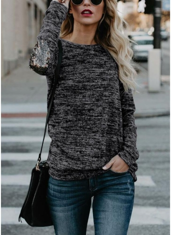 Women Long Sleeve T-Shirt Sequin Patch O-Neck Contrast Casual Pullover Tops Tee