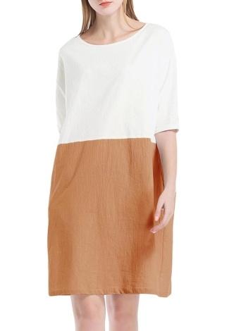 Femmes Vintage coton lâche robe décontractée O-cou poches robe