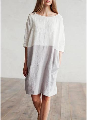 Vestito casual da donna con maniche lunghe in cotone o lino con maniche a 3/