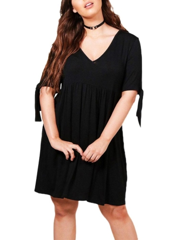 Black 6xl Women Plus Size Midi Dress Ruffled Deep V Neck Ruched