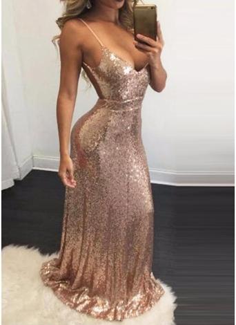 641b6ac875e4 khaki m Glitter Sequin V Neck Open Back Zipper Bodycon Maxi Dress ...