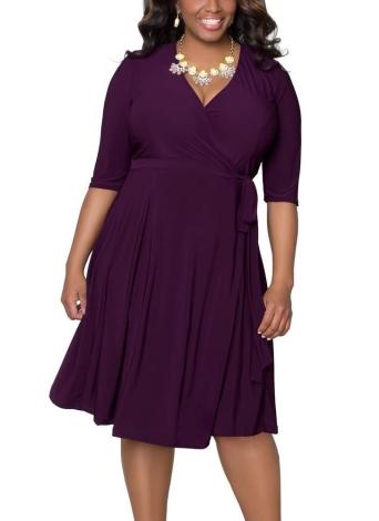 Tamanho Plus Cross Ruched Belt Half Sleeves Elegant Midi Dresses