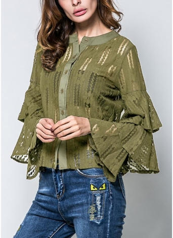 Frauen Bluse Transparent Spitze Layered Flare Sleeve Button Front