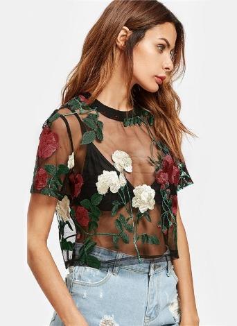 Blusa de manga corta bordada flor de malla superior de las mujeres