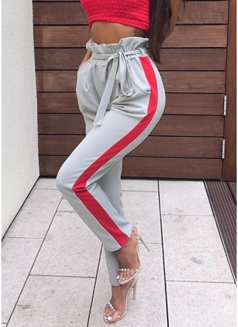 Women Casual Long Pants Striped High Waist Bandage Slim Harem Trousers