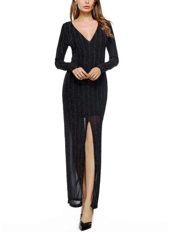 Платье с длинным рукавом для женщин Front Split Maxi Deep V Veck
