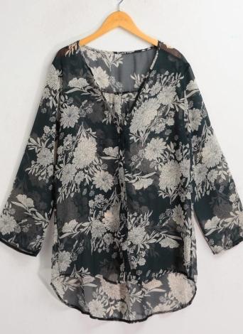 Floreale chiffon Donne Moda a lungo camicia AsymmetricThin Vestito a camicia camicetta grigia