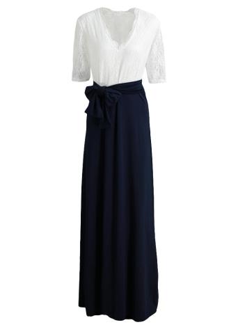 Новая мода женщины Макси платье Кружева сращивания Бедро Split V шеи Половина рукава пояса Тонкий элегантный длинное платье черный / розовый / темно-синий