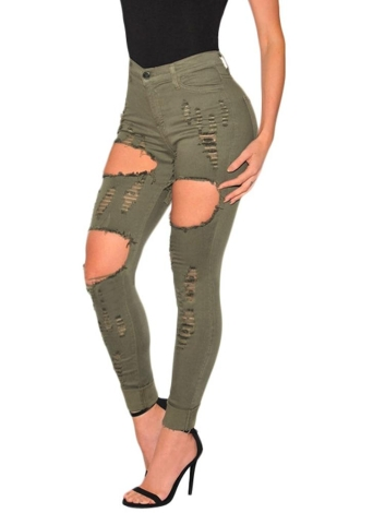Washed Denim Jeans High Waist Stretchy Skinny  Pencil Trousers