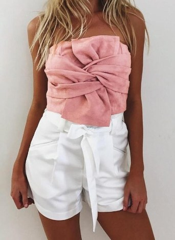 Suede Cropped Bow Front Sleeveless Back Zipper Crop Tube Top