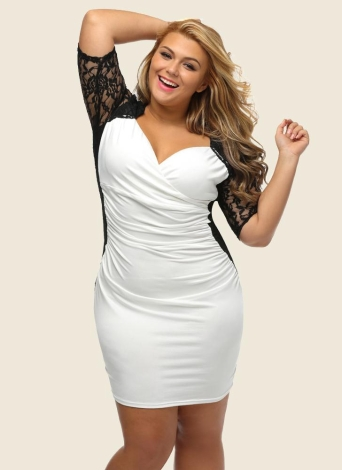 Plus Size Lace Ruched V Neck Half Sleeve Sexy Elegant Club Party One-Piece 1855ab67176d