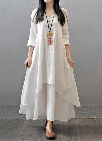 Casual Cotton Linen Button Half Sleeve Solid Color Women's Loose Maxi Dress