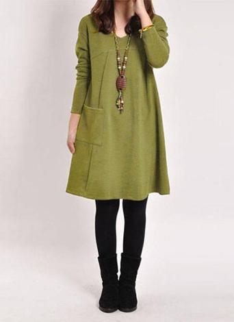 Осенняя зима V Шея Миди платье