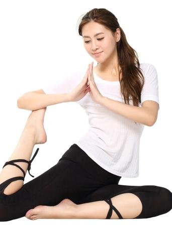 Женские галстуки-поножи Стринги с высокой талией Упругие спортивные тренировки Фитнес-черные