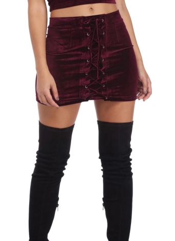 Frauen Velvet Lace-up Bodycon Rock Straps Oesen Short Mini-Rock-Party-Schwarz / Violett / Burgund