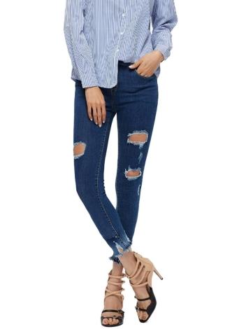 92d3414012c87 Femmes Ripped Pantalons Skinny Jeans Denim Trou Détruits effilochée Mid  taille pantalon droit Bleu