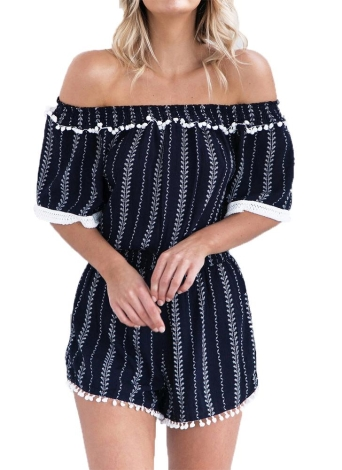Femmes Sexy Encolure Jumpsuit rayée verticale Pom-Pom manches demi Summer Beach Court Playsuit Romper Dark Blue