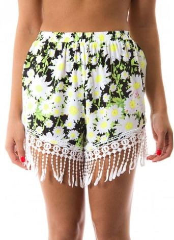 Nuova estate delle donne Shorts stampa floreale nappa allentati bicchierini della vita elastica casuali della spiaggia Shorts bianchi