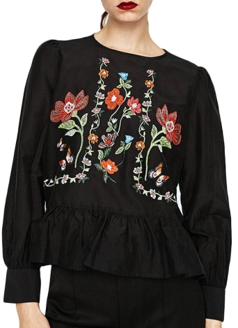 Floral Embroidery Ruffle Hem Round Neck Long Sleeve Women's Blouse