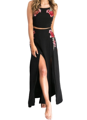 Женщины вышивки юбка Set Crop Top щелевая Длинная юбка без рукавов Self-галстук Открыть Назад Повседневный Аппликация платье Black