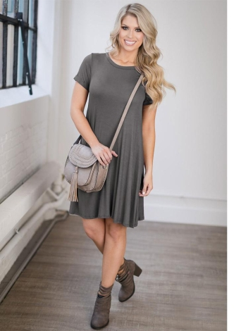 Fashion Women Cotton Mini Dress Short Sleeve O Neck  Casual Dress