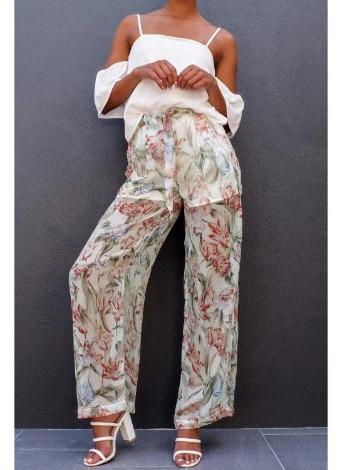 Las nuevas mujeres de la gasa pierna ancha pantalones de flores de impresión flojas delgadas ceñidos pantalones ropa de playa Pantalones largos Blanco / Negro