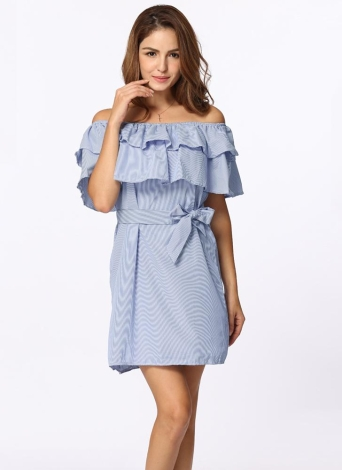 Sexy Stripe Off Shoulder Elastic Ruffle Women's Midi Dress