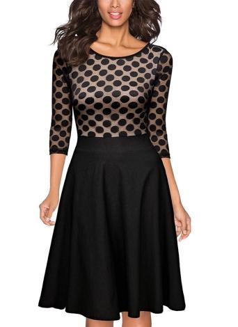 Doted Print Lace Mesh Splice Round Neck Women's Midi Dress