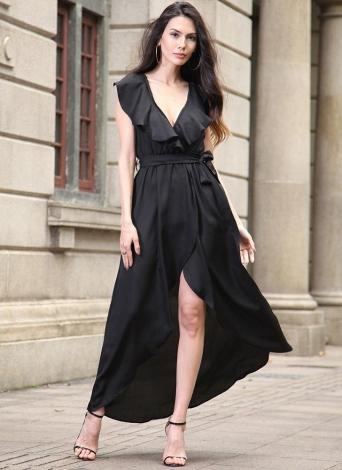 Élégant V profond élastique taille haute asymétrique à volants Maxi robe féminine