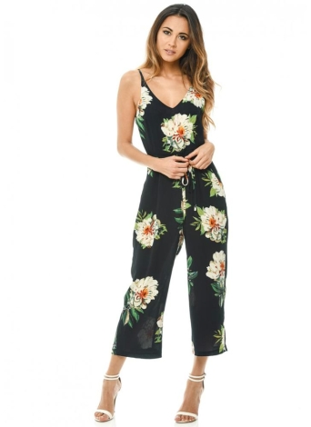 Модная цветочная печать V-образным вырезом Backless Поясница Широкая нога Boho Rompers