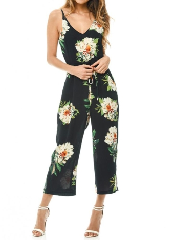 Fashion  Floral Print V-Neck Backless Belted Wide Leg Boho  Rompers