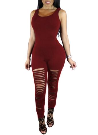 Mujeres atractivas sin mangas rasgado Club de corte de una pieza pantalones largos Jumpsuit