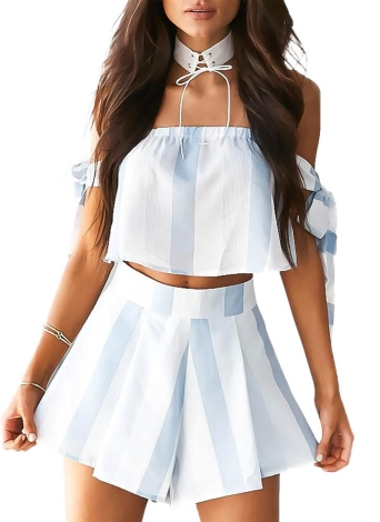 New Women Summer Stripe Off Shoulder bow sleeve Two Piece Rompers